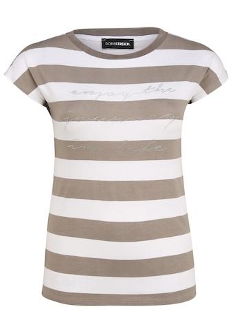 Doris Streich T-Shirt »mit Streifen-Muster«, und Glitzer-Details kaufen