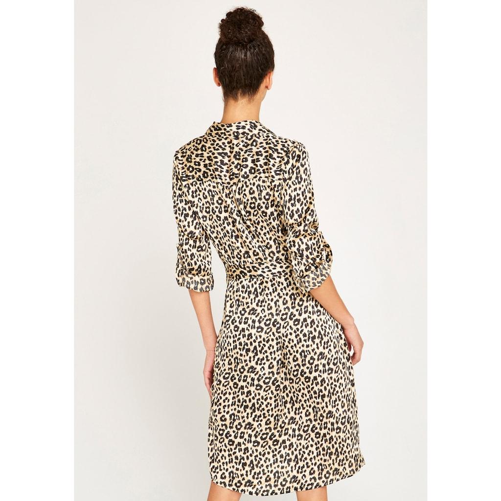 Apricot Hemdblusenkleid »Leopard Satin Crepe Shirt Dress«, (mit Bindegürtel), mit Animal-Print