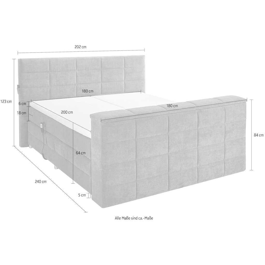 Boxspringbett »Denver«, (6 St.), inkl. Motor, Topper und motorisierter TV-Halterung bis 40 Zoll