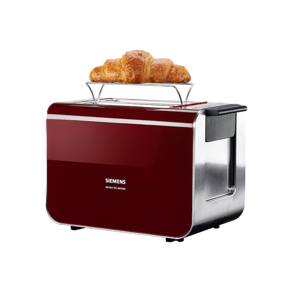 SIEMENS Toaster »Sensor for Senses TT86104«, 2 kurze Schlitze, für 2 Scheiben, 860 W, mit Quarzglasheizung, rot