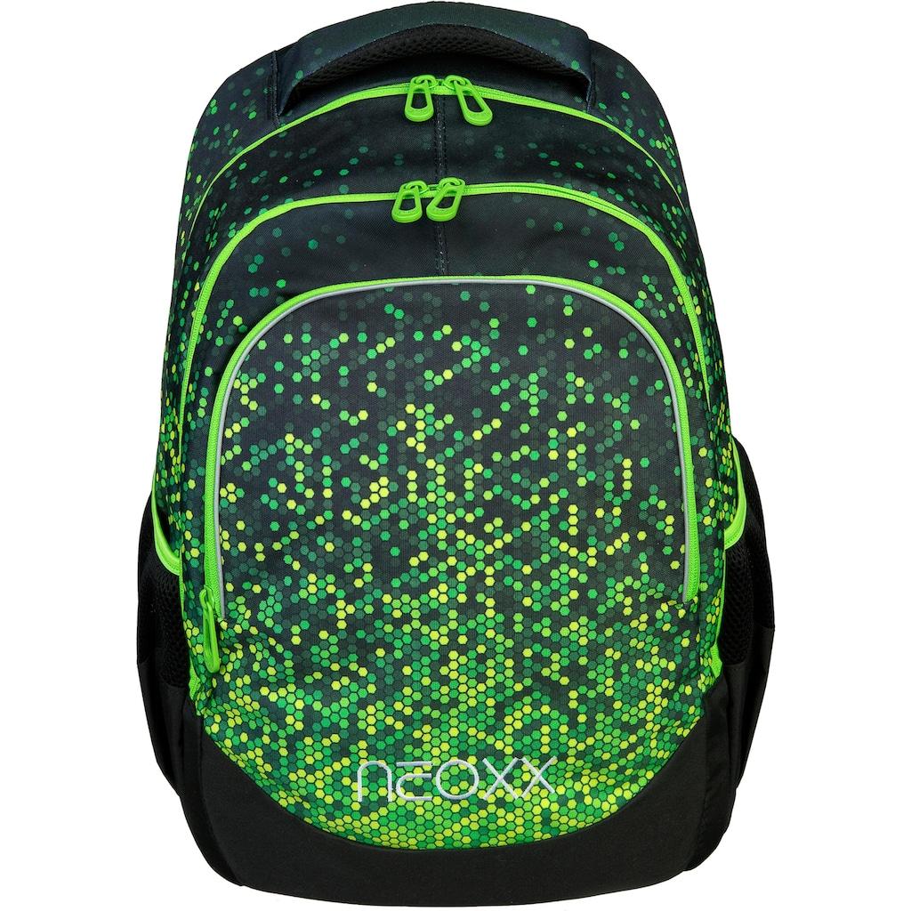 neoxx Schulrucksack »Fly, Pixel in my mind«, Reflektionsnaht, aus recycelten PET-Flaschen