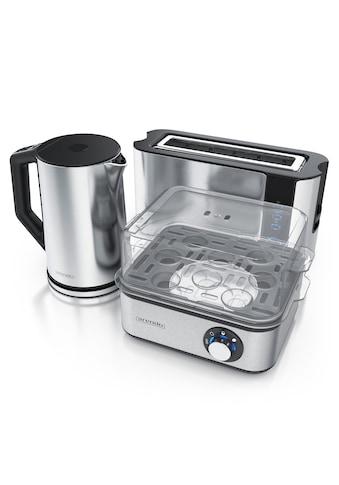 Arendo Frühstücks-Set »Wasserkocher / Toaster / Eierkocher«, 3-teilig in silber kaufen