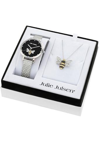 Julie Julsen Quarzuhr »Bee Box Black, JJW1072SME-SET«, (Set, 3 tlg., mit Kette und Anhänger) kaufen