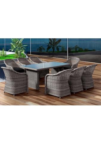 BAIDANI Gartenmöbelset »Charming«, 17 - tlg., 8 Stühle, Tisch 90x200 cm, inkl. Auflage kaufen
