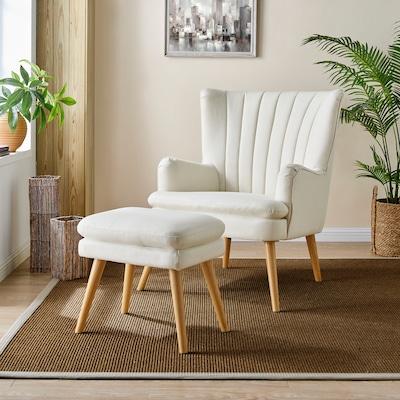Relaxsessel mit Hocker in Weiß
