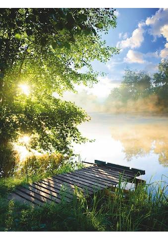 Home affaire Glasbild »Angelsteg am Fluss am Morgen«, 60/80 cm kaufen