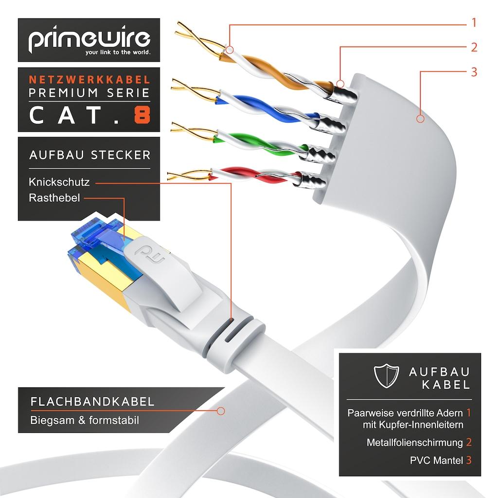 Primewire LAN-Kabel »Cat 8 Patchkabel – S/FTP PIMF Patchkabel«, 25 cm, mit Baumwollgeflecht