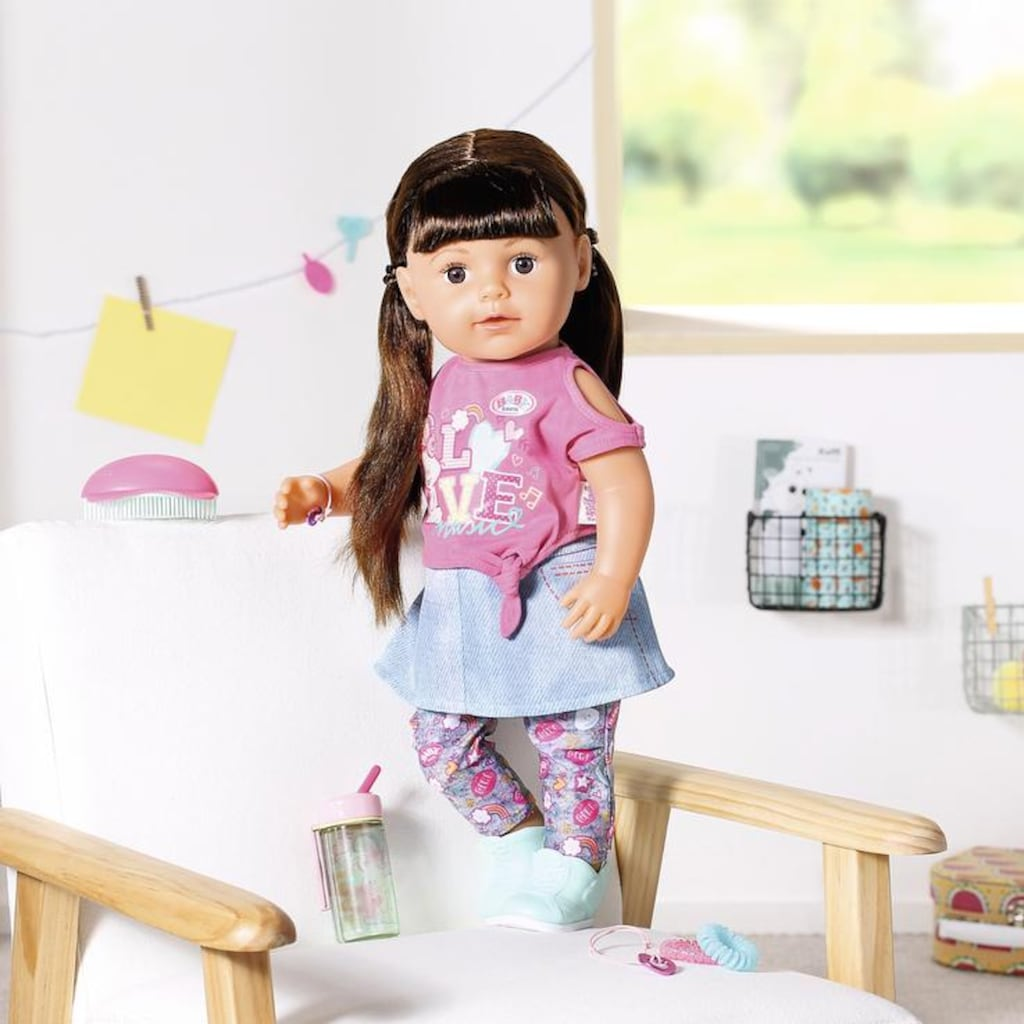 Baby Born Babypuppe »Soft Touch Sister 43ch, brünett«, interaktiv