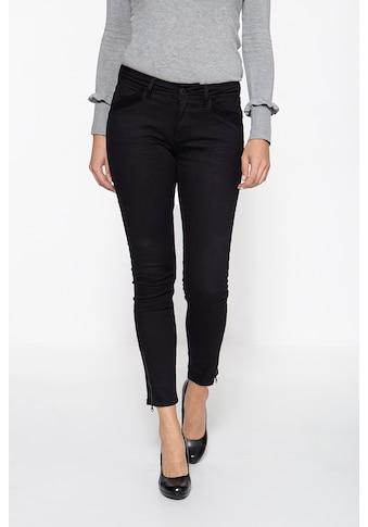 ATT Jeans Slim-fit-Jeans »Carron«, mit Samteinsatz und Reißverschluss-Schlitzen kaufen