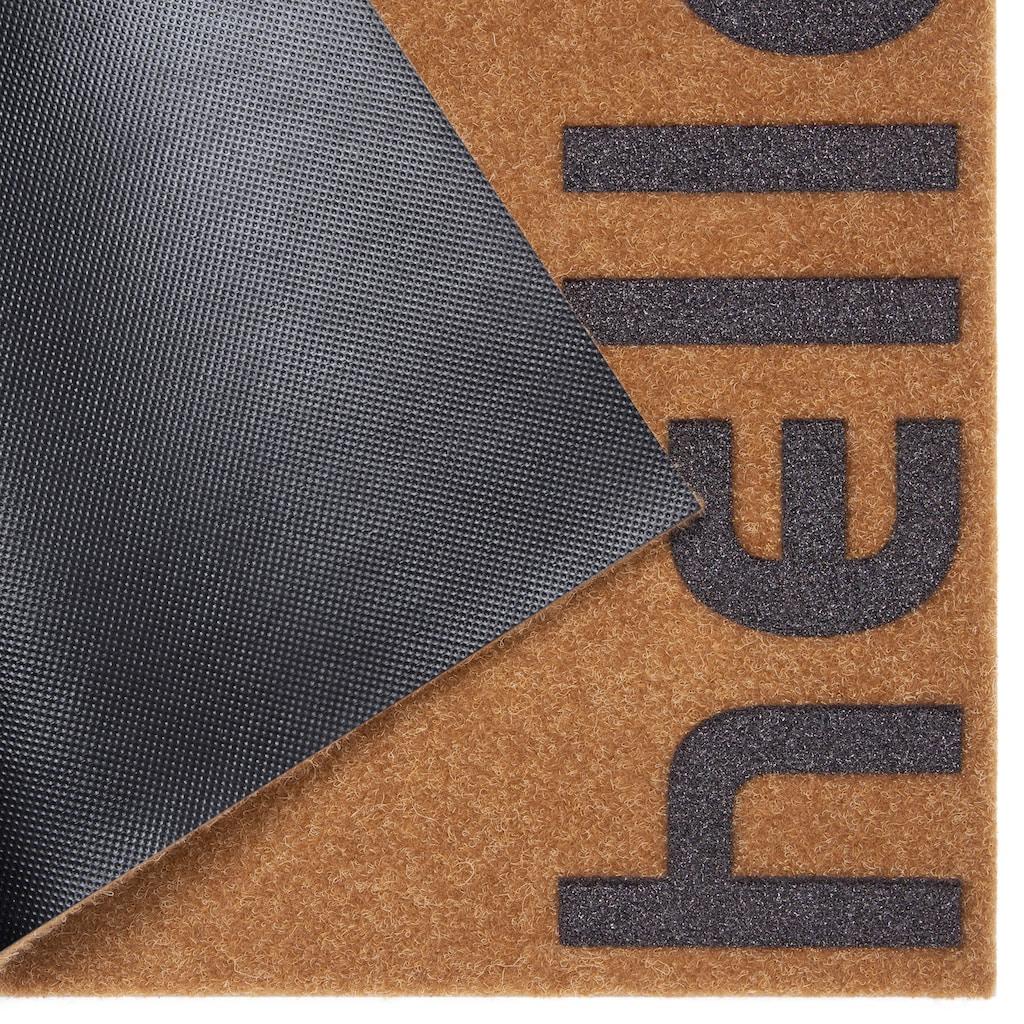 andas Fußmatte »Hello klein«, rechteckig, 10 mm Höhe, Fussabstreifer, Fussabtreter, Schmutzfangläufer, Schmutzfangmatte, Schmutzfangteppich, Schmutzmatte, Türmatte, Türvorleger, mit Spruch, In- und Outdoor geeignet, Kokos-Optik