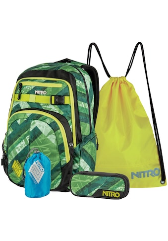 NITRO Schulrucksack »Chase Wicked Green«, mit Mäppchen, Raincover und Sportbeutel kaufen