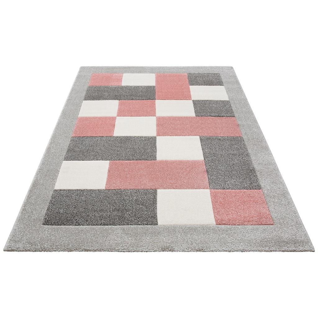 my home Teppich »Donna«, rechteckig, 14 mm Höhe, Karo-Muster mit Bordüre, Wohnzimmer