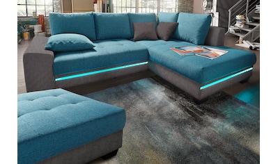 Nova Via Ecksofa, wahlweise mit Kaltschaum (140kg Belastung/Sitz), Bettfunktion, mit RGB-LED-Beleuchtung, wahlweise mit Bluetooth-Soundsystem kaufen