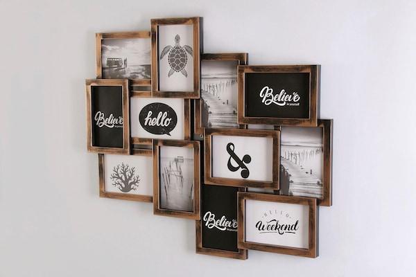 Bilderrahmen-Collage mit dunkelbraunem Rahmen