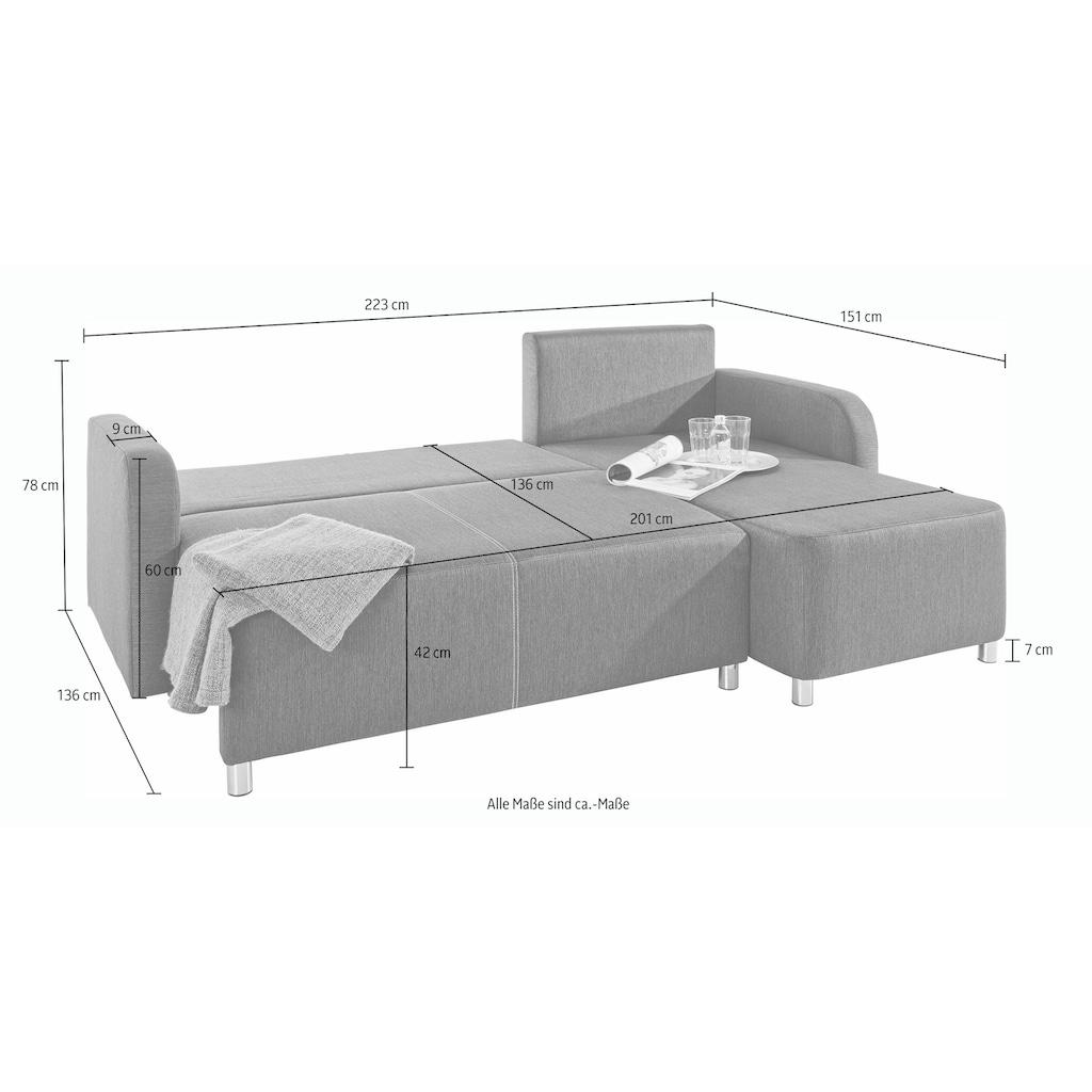 INOSIGN Ecksofa, mit Bettfunktion und Bettkasten