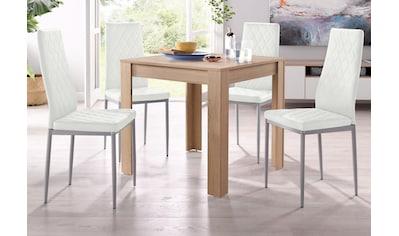 my home Essgruppe »Lynn + Brooke«, (Set, 5 tlg.), mit Tisch in Eichefarben Sägerau, Breite 80 cm kaufen