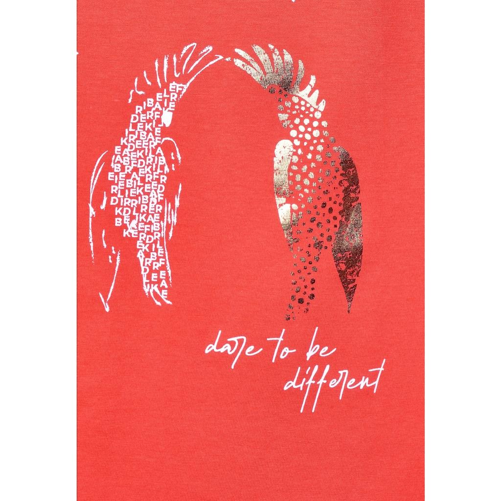 Cecil Rundhalsshirt, mit Vogelmotiv und Schriftzug