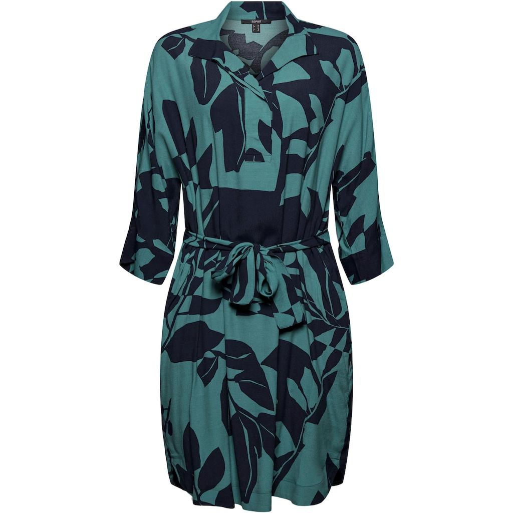 Esprit Collection Blusenkleid, mit Allover Print und Bindegürtel
