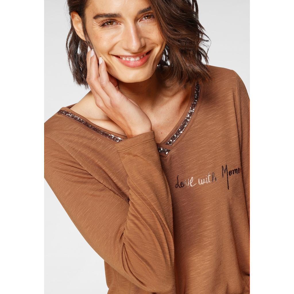 Boysen's Langarmshirt, mit Paillettenaplikation und Print