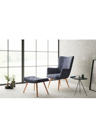 Homexperts Sessel »Aron«, Sessel mit Knopfsteppung, wahlweise mit Hocker kaufen