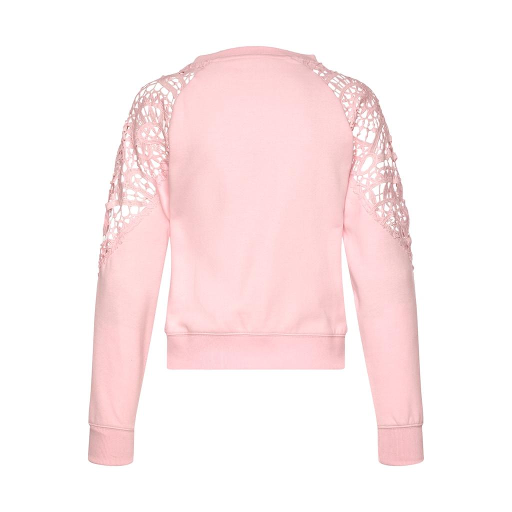 Buffalo Sweatshirt, kurze Form mit Spitzeneinsatz