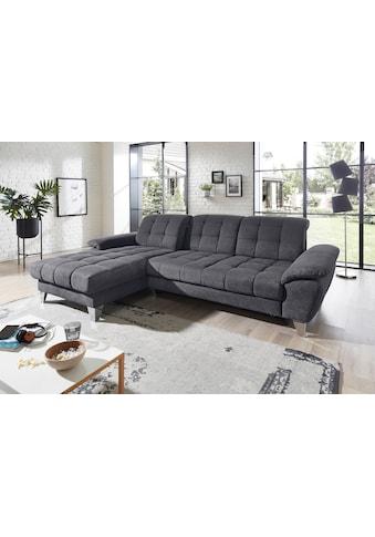 Places of Style Ecksofa »Bardi Luxus«, belastbar bis zu 140 kg, incl. Sitztiefenverstellung, wahlweise mit Kopfteil- und Armlehnverstellung, Bettfunktion und Bettkasten kaufen