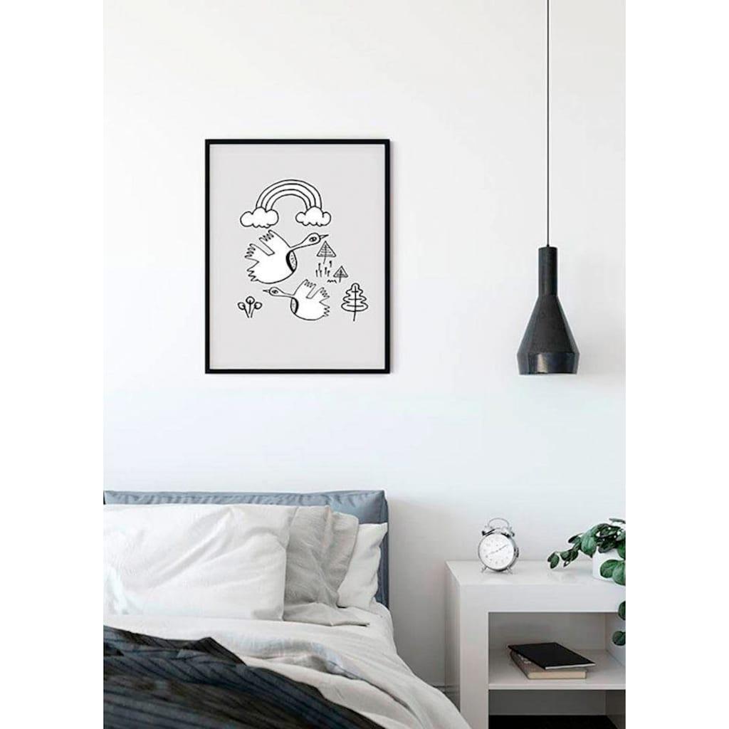 Komar Poster »Scribble Birdy«, Tiere, Höhe: 40cm