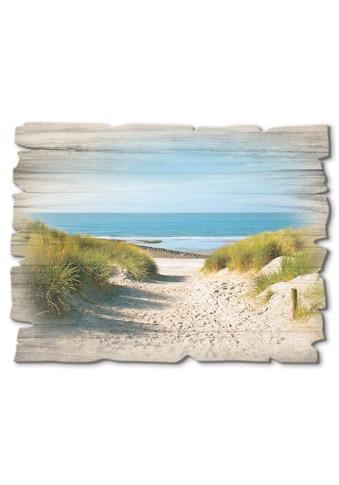 Artland Holzbild »Strand mit Sanddünen und Weg zur See« kaufen
