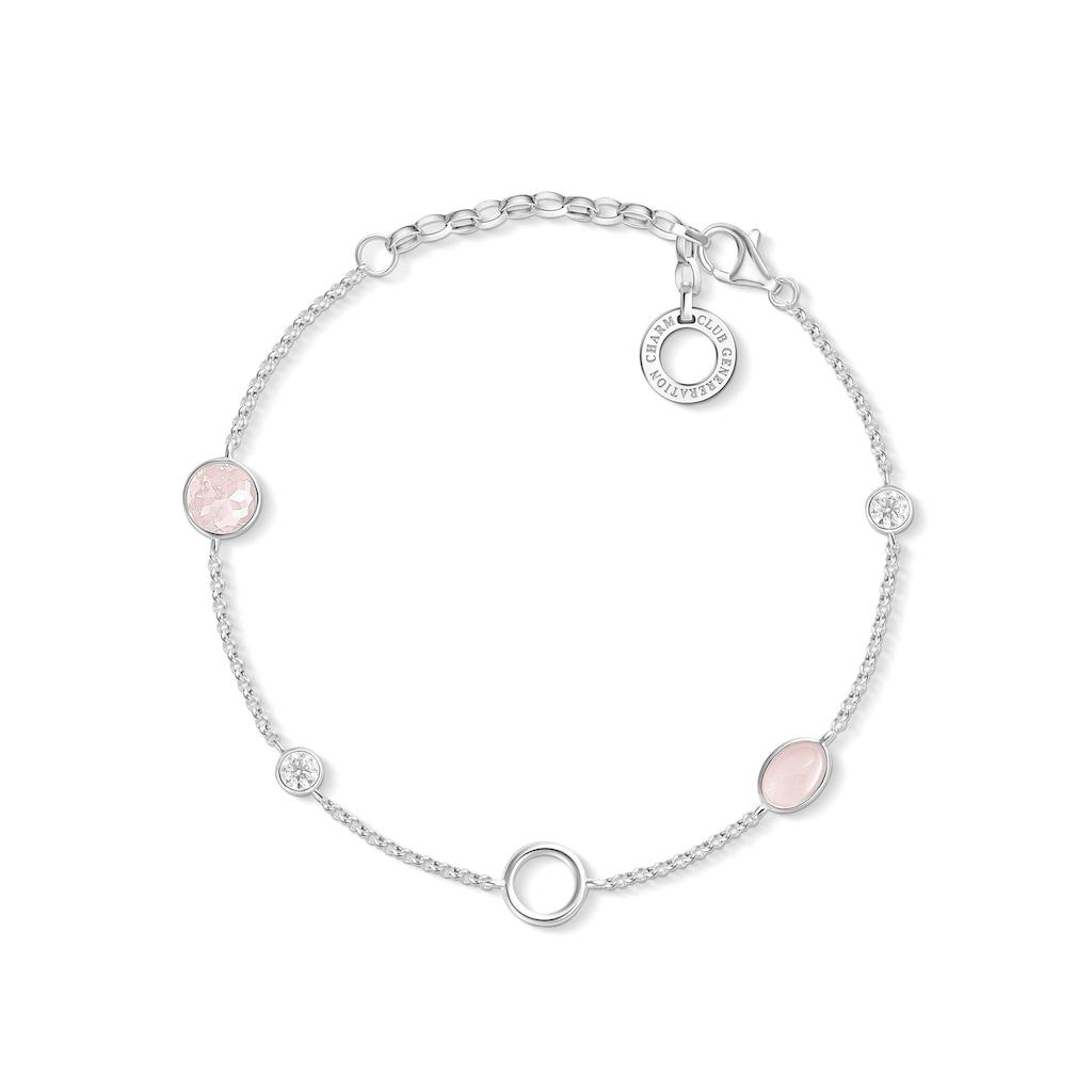 THOMAS SABO Charm-Armband »Rosa Steine, X0272-035-7-L19v«, mit Rosenquarz und Zirkonia