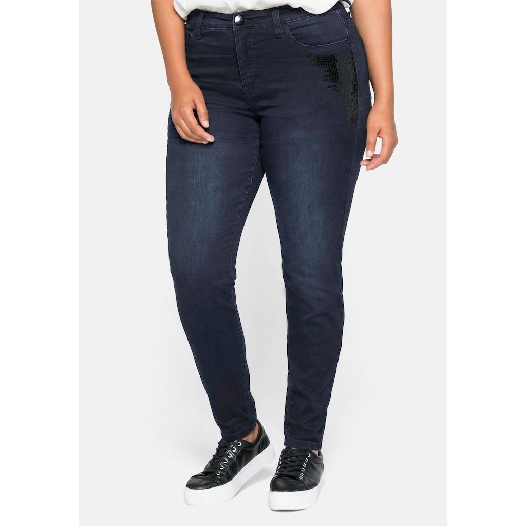 Sheego Stretch-Jeans, mit Pailletten