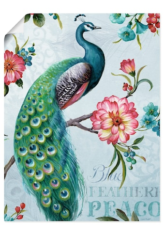 Artland Wandbild »Blau gepfederter Pfau«, Vögel, (1 St.), in vielen Größen &... kaufen