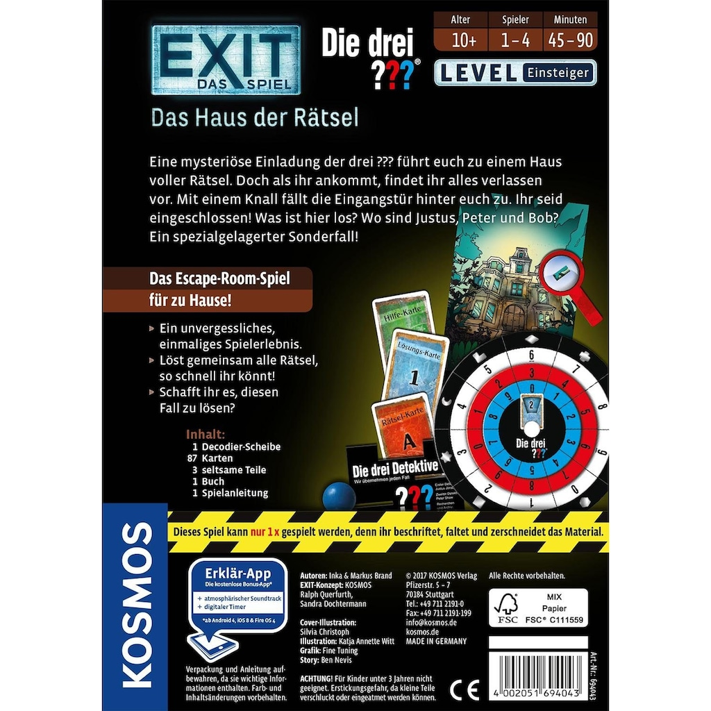 Kosmos Spiel »Exit, Die drei ???, Das Haus der Rätsel«, Made in Germany