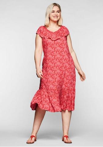 Sheego Sommerkleid, mit Volants an Ausschnitt und Saum kaufen