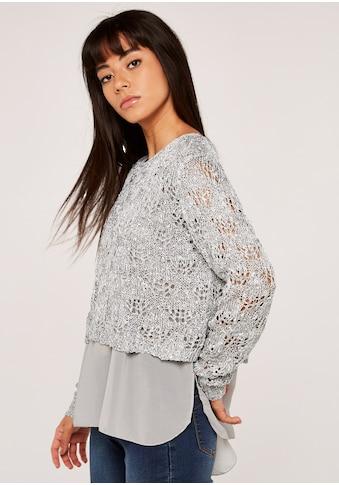 Apricot Strickpullover »Sequin Knit Chiffon Underlay Top«, im Lagenlook kaufen