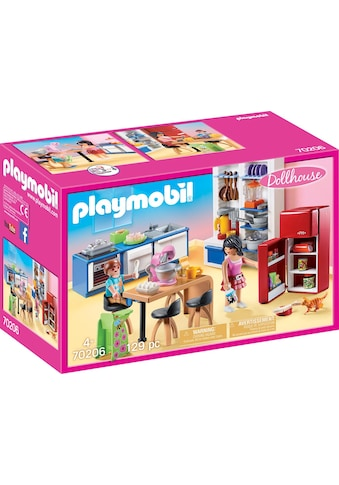 Playmobil® Konstruktions-Spielset »Familienküche (70206), Dollhouse«, (129 St.), Made in Germany kaufen