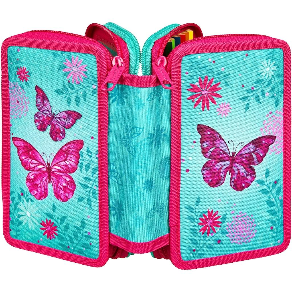 Scooli Schreibgeräteetui »Triple Decker, Butterfly«, befüllt, inkl. Geodreieck