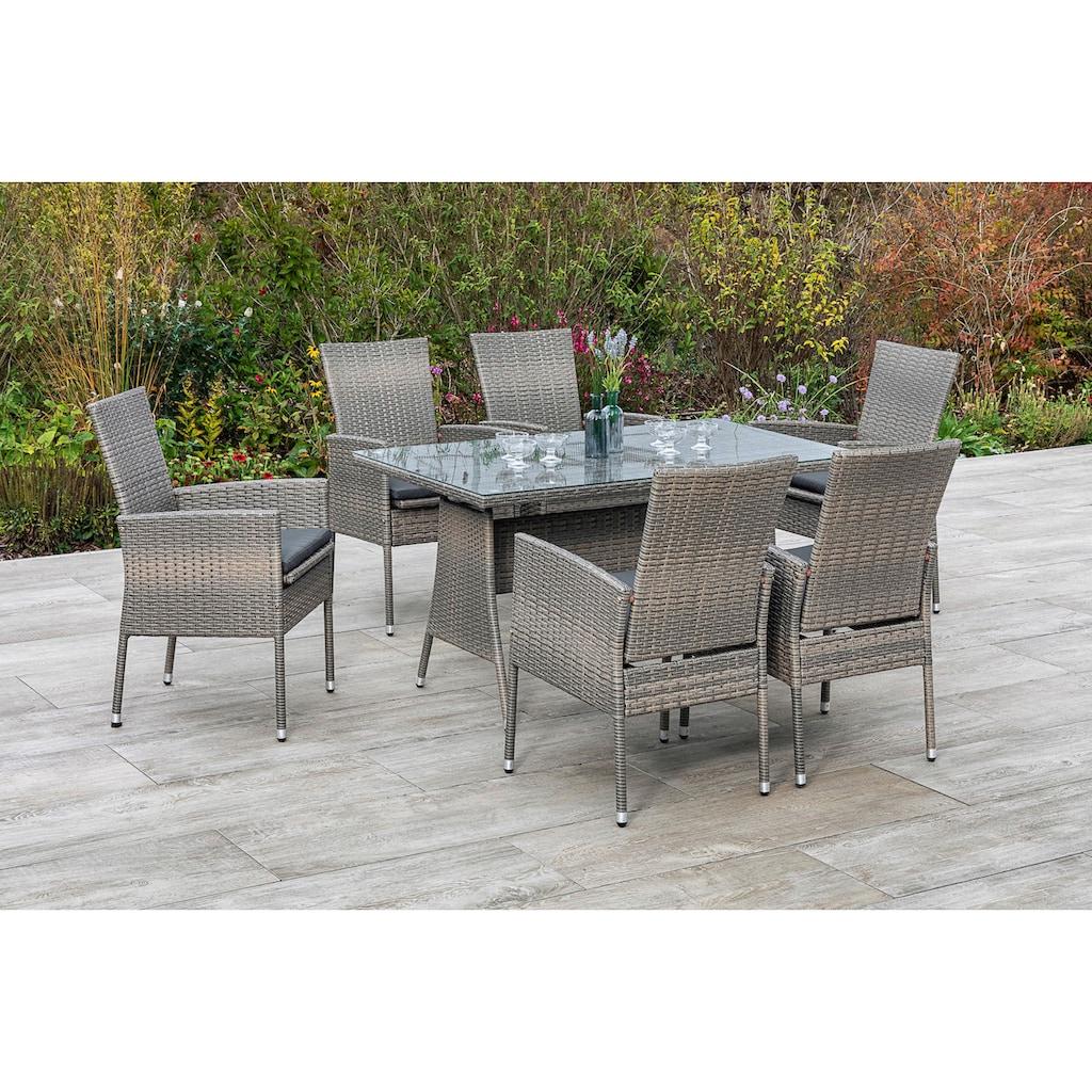 MERXX Gartenmöbelset »Sevilla«, (7 tlg.), 6 Sessel mit Siztkissen, Tisch, steinbeige