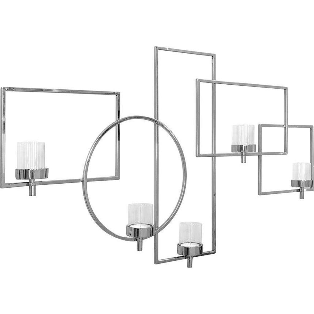 Fink Wanddekoobjekt »ESCALA, silberfarben«, Wandleuchter, Wandkerzenhalter, Wanddeko, aus Edelstahl, mit 5 Teelichthalter, Wohnzimmer