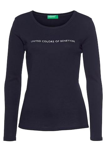United Colors of Benetton Langarmshirt, mit silber- oder goldfarbenem Glitzer-Labelprint kaufen