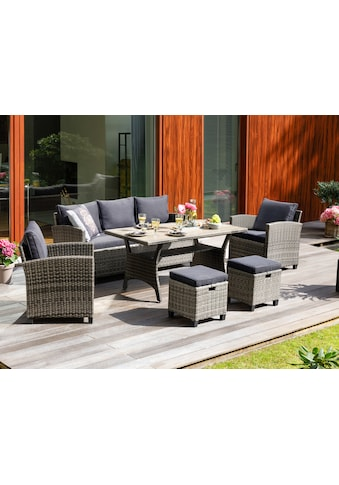 KONIFERA Loungeset »Amsterdam«, (16 tlg.), 3er Sofa, 2 Sessel, 2 Hocker, Tisch, Polyrattan kaufen
