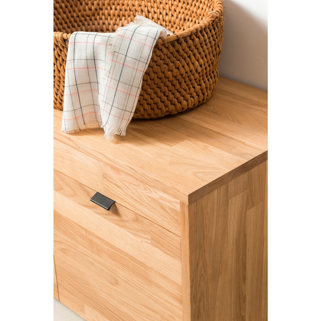 andas Sitzbank »Teramo«, aus massivem Eichenholz, mit zwei Schubladen auf Rollen, Breite 82 cm