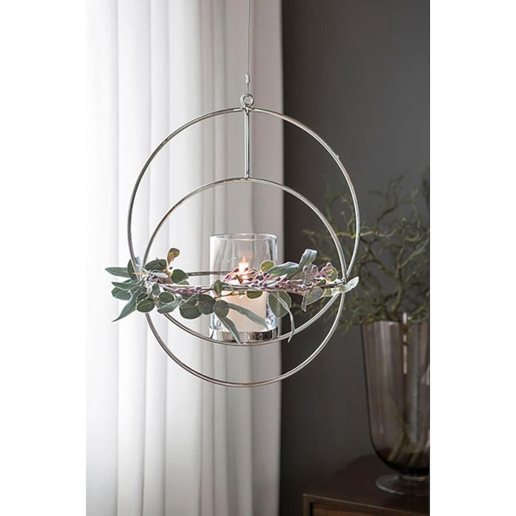 Fink Kerzenhalter »LUA, silberfarben«, Hängeleuchter, Kerzenleuchter, zum Aufhängen, rund, handgefertigt, verschiedene Größen erhältlich, Wohnzimmer