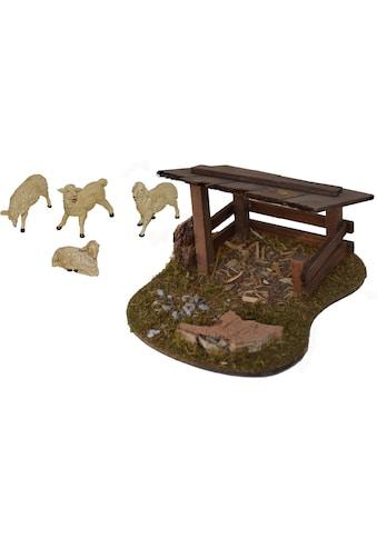 Alfred Kolbe Krippen-Zubehör »Schafunterstand und 4 Schafe« kaufen