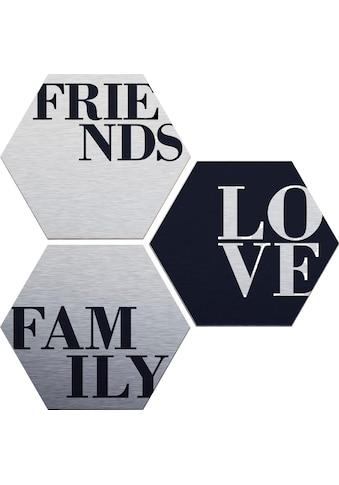 Wall-Art Alu-Dibond-Druck »Love, Friends, Family«, (Set) kaufen
