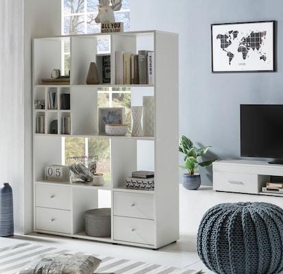 weißes Raumteilerregal