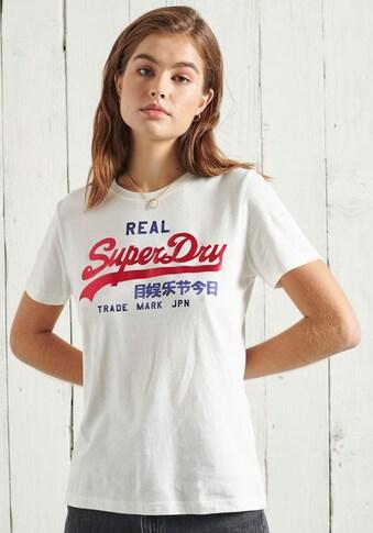 Superdry T-Shirt »VL DUO SATIN ENTRY TEE«, mit glänzendem Logoaufdruck kaufen