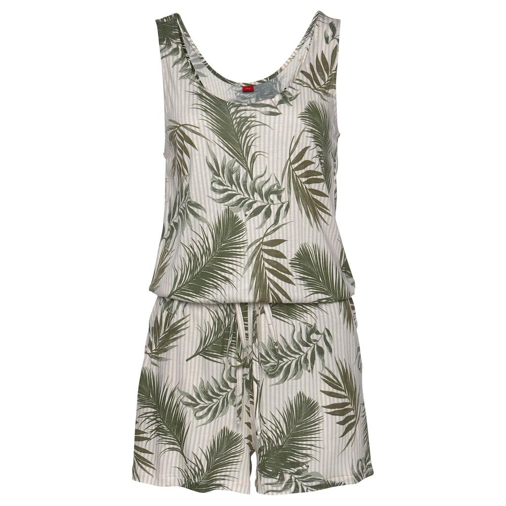 s.Oliver Beachwear Kurzoverall, mit Palmenprint