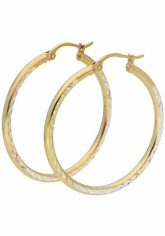 Firetti Paar Creolen »glanz, diamantiert, Bicolor Optik« kaufen