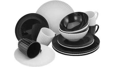"CreaTable Kombiservice ""Allegra Black & White"" (16 - tlg.), Porzellan kaufen"