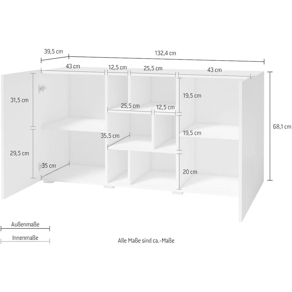 TRENDMANUFAKTUR Sideboard »Aksel«, Breite 132,4 cm
